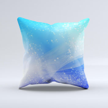 Abstract Light Blue Scattered Snowflakes Ink-Fuzed Decorative Throw Pillow