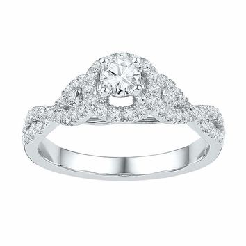 14kt White Gold Women's Round Diamond Solitaire Twist Bridal Wedding Engagement Ring 1/2 Cttw - FREE Shipping (US/CAN)
