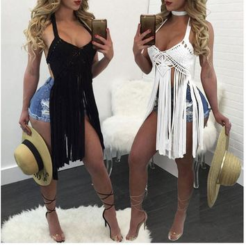 Womens Sexy Tassel Party Tank Top