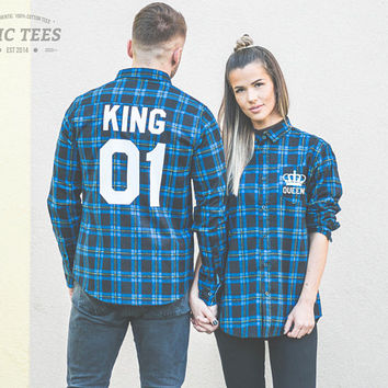 Blue Flannel Shirt, King Queen Matching Plaid shirts, Flannel Shirts for Couples, Blue and Black Plaid Shirt, King 01 Queen 01, UNISEX