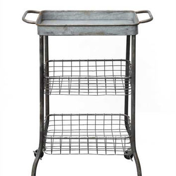 Tin Cart On Casters w/ 2 Wire Shelves