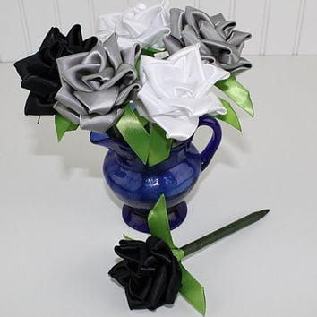 Black Grey White Flower Pen Set Ribbon Rose Single Color or Assortment of 6 Wedding Favors Reception Pen Party Bridal Shower Handmade