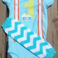 First Birthday Boy Outfit - Baby's First Birthday - Suspenders - Blue Chevron - Bow Tie - Leg Warmers