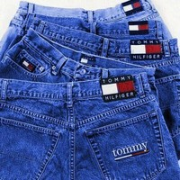 Tommy New Fashion Jeans Tommy Hilfiger Shorts Jeans Women High Waist Denim Shorts Dark blue