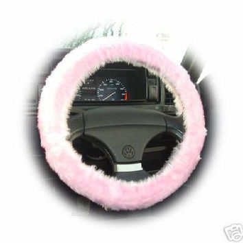 Baby pink plain faux fur car Steering wheel cover