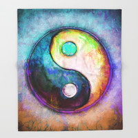 Yin Yang - Colorful Painting V Throw Blanket by Dirk Czarnota