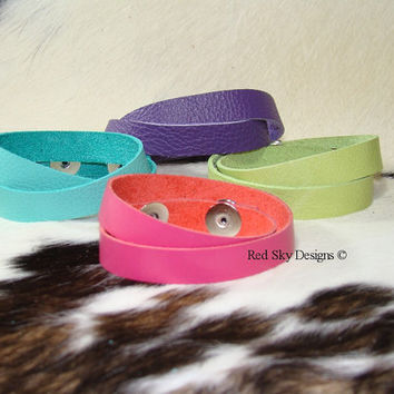 "Its A Wrap - Leather Bracelet Wrap - 1/2"" x 16"" - Ultra Soft - 3oz Leather Supply of 4 Leather Bracelets-Your Choice of Snaps"