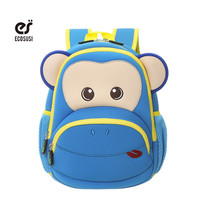 ecosusi Blue Pink Monkey Kids Baby Cartoon Waterproof School Bags 3D Animals Backpack For Girls Boys School Bags For 2-6 Baby