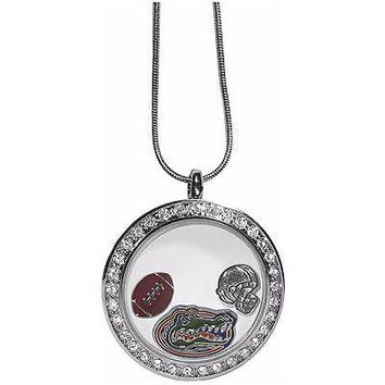 "Florida Gators Locket Necklace Floating Charms Silver Tone 18"" Snake Chain"