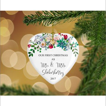 Personalized Floral Our First Christmas as Mr. & Mrs. Christmas Ornament- Wedding Ornament - Christmas Gift Ideas - HO0007