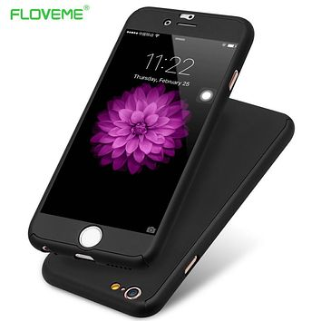 FLOVEME Case For iPhone 7 6 6S Case 360 Degree Full Coverage for iPhone 6 /6S / 7/Plus Cases Protective Cover + Tempered Glass