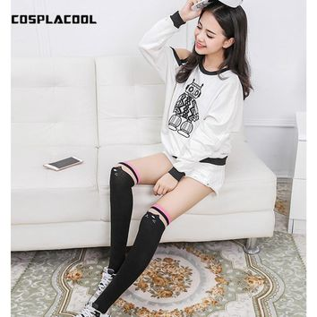 [COSPLACOOL]Kawaii Warm 6 Colour The Cat Cute High Knee Thigh High Women Stockings Silk Cotton Cartoon Stockings Over Knee Meias