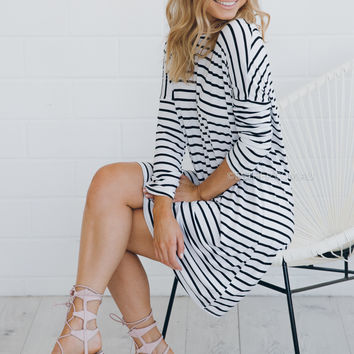 marie dress - white stripe