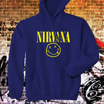 "Hoodie NIRVANA Shirt Drunk Smiley Face Hoodie, Men Hoodie, All Color Available {Size Print 12""X12""}"