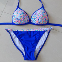 Blue Printed Push Up Padding Triangle Bikini Swim Suits