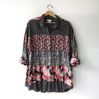 Vintage oversized floral tunic shirt. button up blouse. polka dotted revival top.