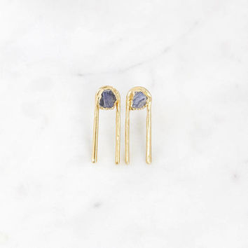 raw sapphire earrings | ear pins | blue sapphire earrings | sapphire ear climber | rough sapphire jewelry | september birthstone earrings