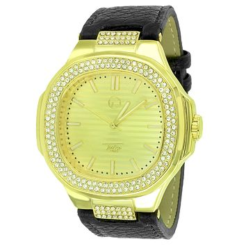 Custom Iced Out Simulated Diamonds Men's Square Face Leather Band Watch