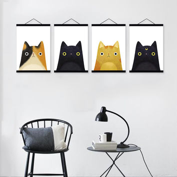 Modern Original Watercolor Cute Japanese Cat Head Pet Wooden Framed Canvas Painting Wall Art Print Picture Poster Kids Room Deco