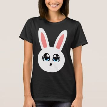 Cute Bunny Women's Black T-Shirt