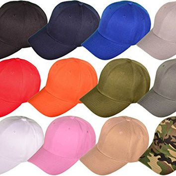 Dozen Pack BK Caps 6 Panel Mid Profile Blank Baseball Caps (Assorted)