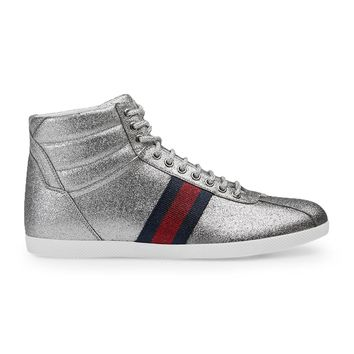 Gucci Men's Glitter Web High-top Sneaker, Silver Metallic (Argento) 429597