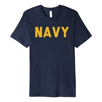 US Navy USN Gold Vintage Style Military T Shirt Men & Women