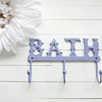 Metal Wall Decor / Bathroom Decor / Bathroom Hooks / Shabby Chic / French Country Decor / Lavender / Lilac / Mothers Day Gift / For the Home