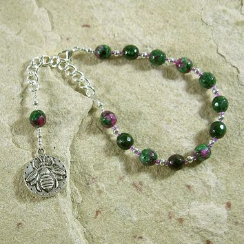 Aristaios Prayer Bead Bracelet in Ruby-Zoisite: Greek God of Excellence and Useful Arts