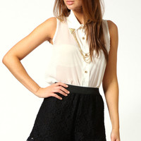 Molly Elastic Waist Lace Scalloped Hem Shorts