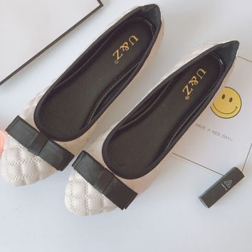 Spring Summer 2017 Lovely patent leather satin bow flats shoes & Block heels Black/Navy blue,Golden buckle ballet flat Loafers