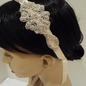 Great Gatsby Bridal Headpiece, Bridal Rhinestone Headpiece, KAMI, Vintage Headband, Bridal Headband, Rhinestone Headband, Crystal Headband
