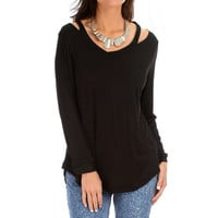 Open Shoulder Long SLeeve Light Tunic Top in Black