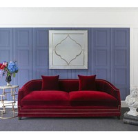 Majestic Crimson Red Velvet Sofa | Statement Red Sofa