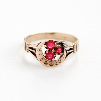 Antique 10k Rose Gold Simulated Ruby Clover & Crescent Moon Ring - Late 1800s Victorian Red Glass Flower Cluster Fine Vintage Jewelry