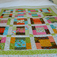 Single Bed Patchwork Quilt /Cosy Couch Throw/Child's Snuggly Blanket, Greens, Pinks and White