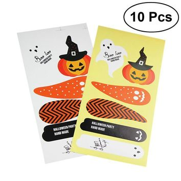 10Pcs Halloween Stickers Ghost Pumpkin Decals Labels for DIY Gift Wrapping Sealing Packaging Decoration