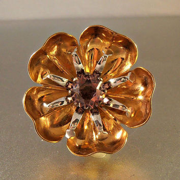 Amethyst Rose Gold Filled Brooch, Flower Design, 2 Tone, A&Z 12K GF