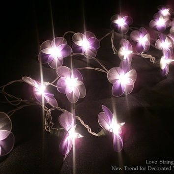 Mixed Purple colour Nylon flower fairy String Lights For Wedding and House decoration (20 Flowers/Set)