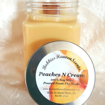 Peach Scented Candles, Scented Candles, Home Decor, Gifts, Handcrafted Candles, Fruity Scented Candles, Container Candles,