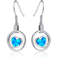 Sterling Silver Heart W. Blue and Green Fire Opal Drop Earrings