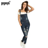 Autumn Winter Hollow Out Hole Pencil Regular Jeans Jumpsuit For women Solid Full Length Streetwear Jeans Jumpsuit