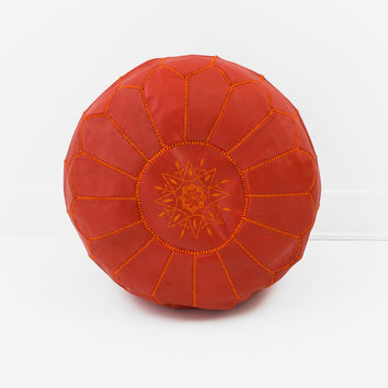Moroccan Leather Pouf, Blood Orange