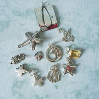 Ten Sterling Silver Charms - Jewelry Supply Sterling Silver Charm Lot - Bali Silver Charms