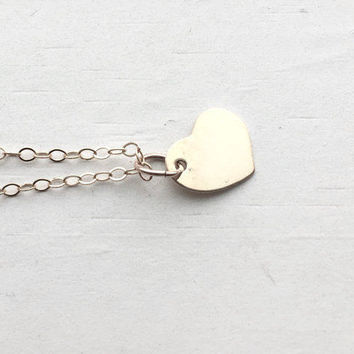 Gold Heart Necklace, 14K Gold Filled, Everyday Jewelry, Valentine's Day, Handmade, Gifts for her, Small Heart Necklace