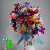 Candy ott bow , Funky loopy bow , Crazy hair bow , party hair bow , Crazy colorful bow , Funky loopy bubble bow , candy party bow