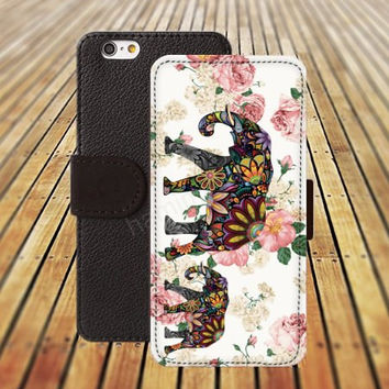 iphone 5 5s case elephant flowers iphone 4/4s iPhone 6 6 Plus iphone 5C Wallet Case,iPhone 5 Case,Cover,Cases colorful pattern L278