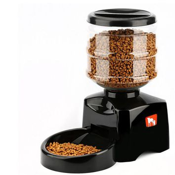 Hoopet 5.5L Automatic Pet Feeder with Voice Message Recording and LCD Screen Large Smart Dogs Cats Food Bowl Dispenser Black