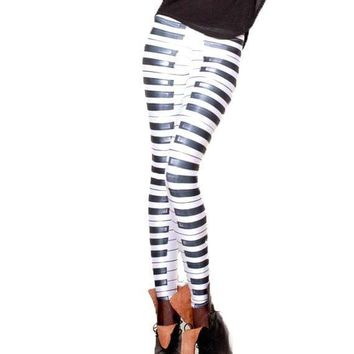 Piano Musical Keys Fashion Statement Digital Print Legging Pants for Women | Wearable Art
