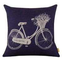 LINKWELL 45*45CM Dark Blue White Bicycle with Flower Basket Burlap Cushion Covers
